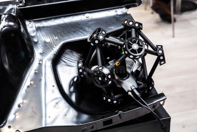Braço do robô com sistema da exploração 3D imagem de stock