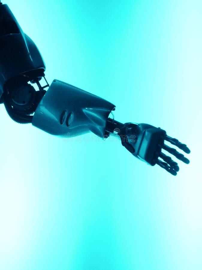 Braço do robô - deixe-nos agitar as mãos imagens de stock