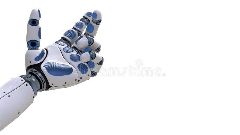 Braço do robô Mão robótico no movimento no fundo futurista ilustração stock