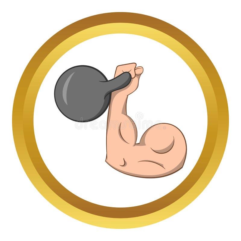 Braço forte com ícone do peso ilustração stock