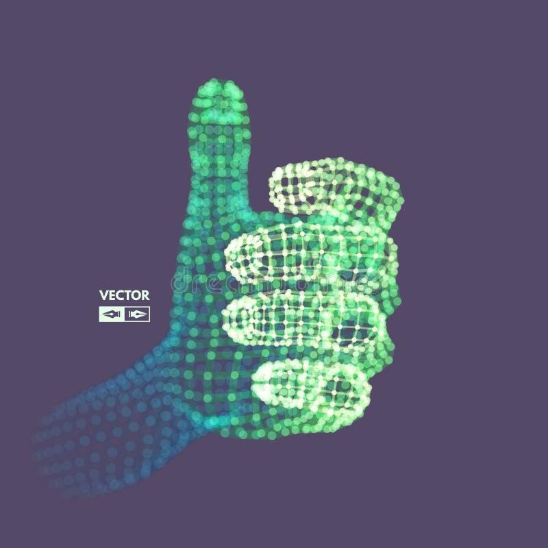 Braço humano Modelo da mão Estrutura da conexão Conceito futuro da tecnologia ilustração do vetor