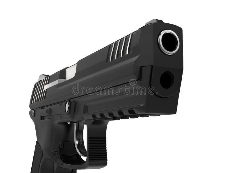 Braço lateral semi automático preto moderno - pistola - tiro do close up ilustração do vetor