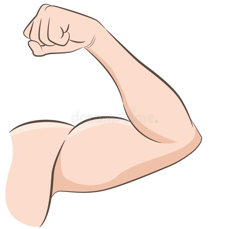 Braço masculino dos músculos fortes que dobra o bíceps ilustração do vetor