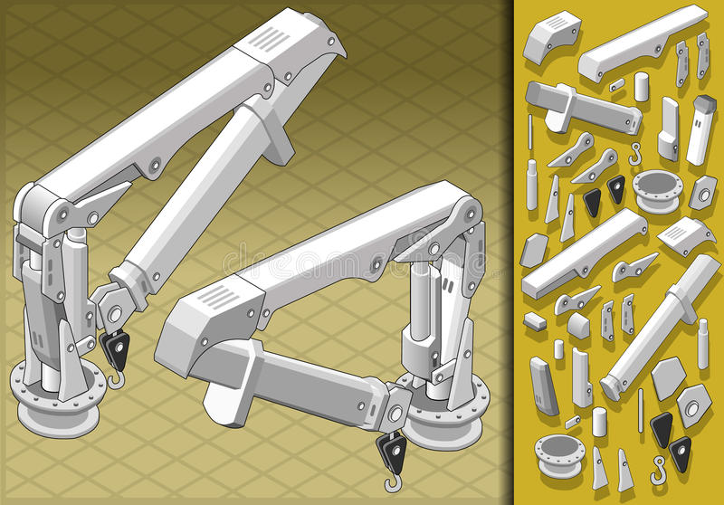 Braço mecânico isométrico em duas posições ilustração royalty free