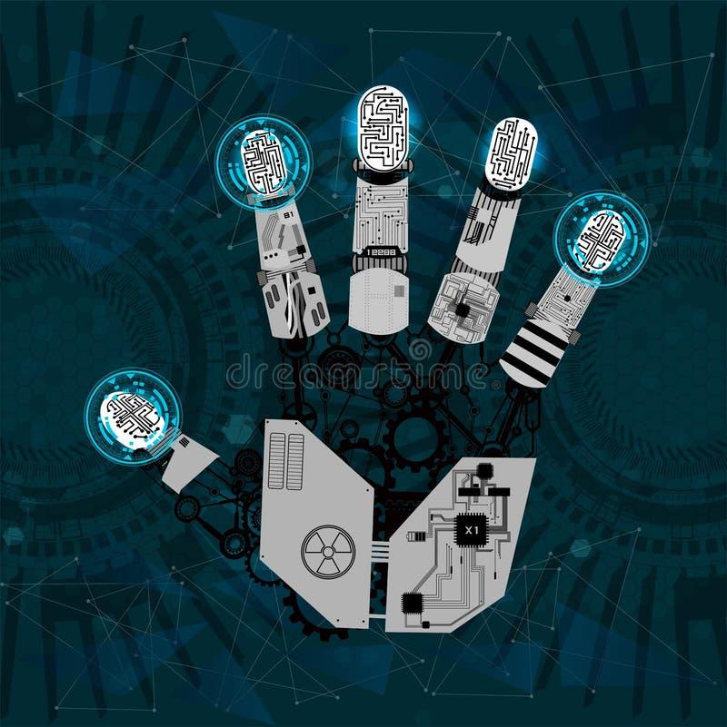 Braço mecânico, mão do robô, mão ilustração do vetor