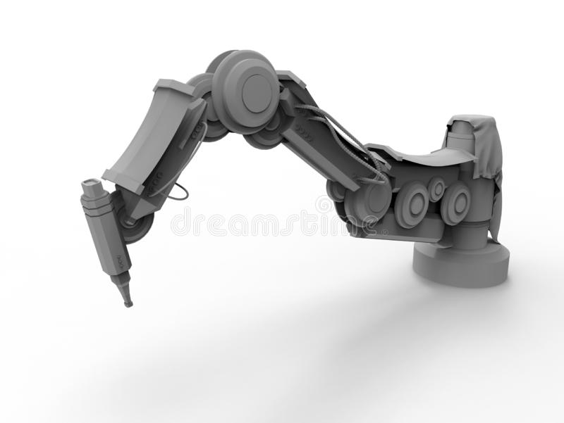 Braço robótico industrial cinzento isolado ilustração do vetor