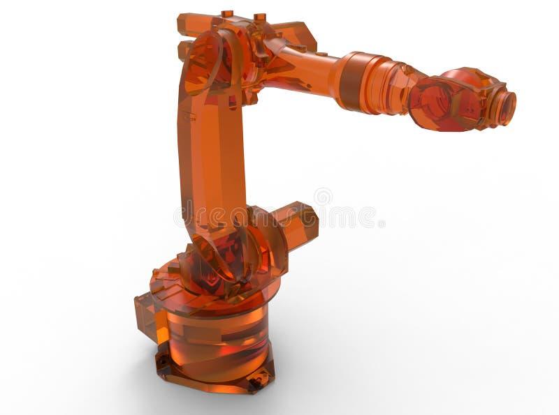 Braço robótico industrial de vidro alaranjado ilustração do vetor