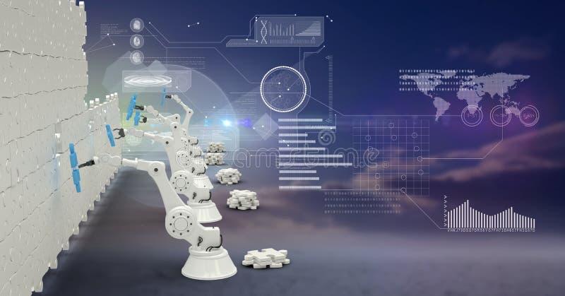braços 3d robóticos que constroem uma parede da serra de vaivém coberta com a relação futurista ilustração do vetor