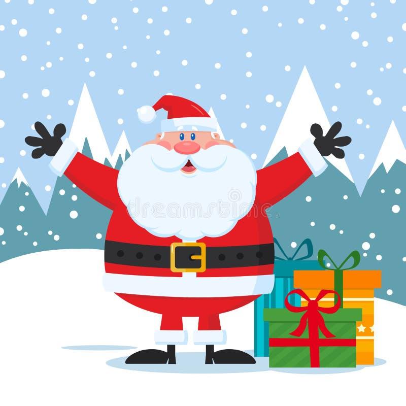 Braços de Jolly Santa Claus Cartoon Mascot Character With e caixas de presentes abertos ilustração do vetor