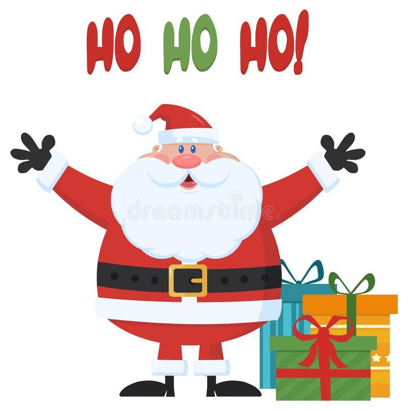 Braços de Santa Claus Cartoon Mascot Character With e caixas de presentes abertos ilustração royalty free