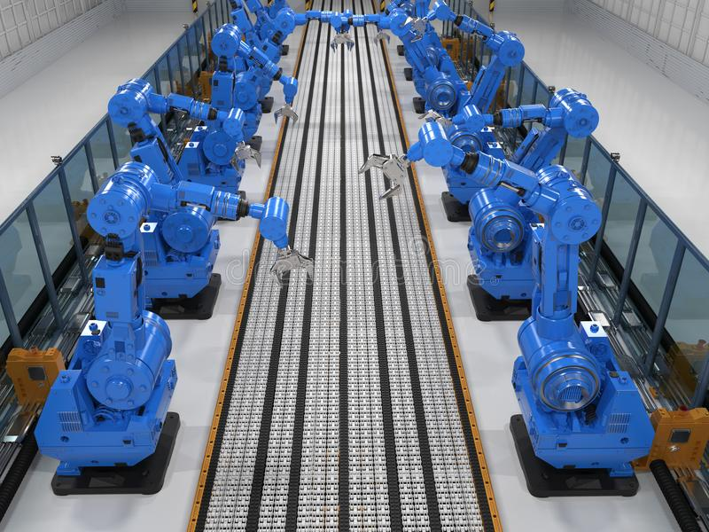 Braços do robô com linha do transporte ilustração stock