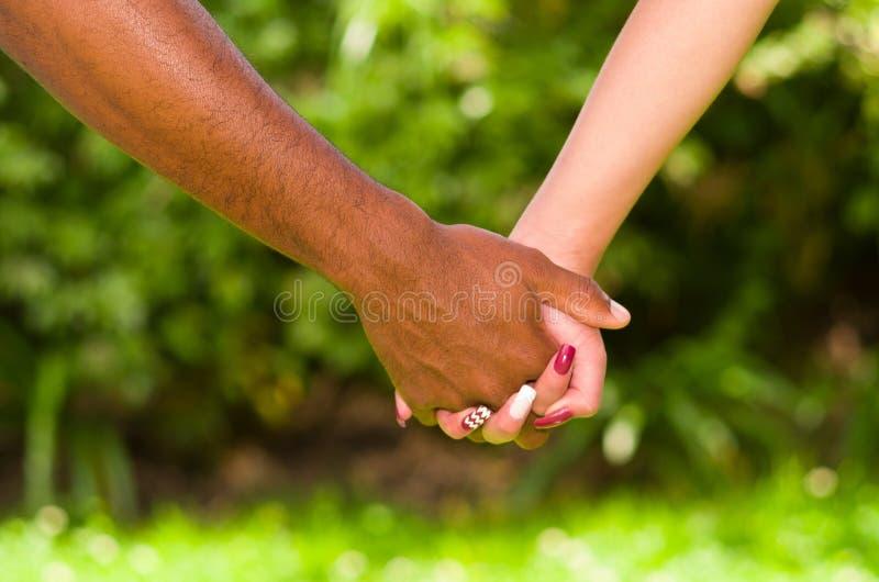 Braços dos pares inter-raciais que guardam as mãos, conceito simbólico do grande amor, fundo verde do jardim foto de stock royalty free