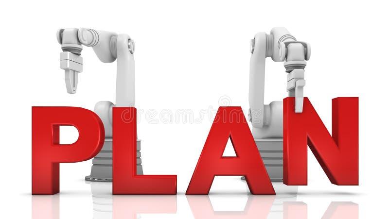 Braços robóticos industriais que constroem a palavra da PLANTA ilustração royalty free
