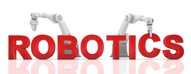 Braços robóticos industriais que constroem a palavra da ROBÓTICA fotos de stock royalty free