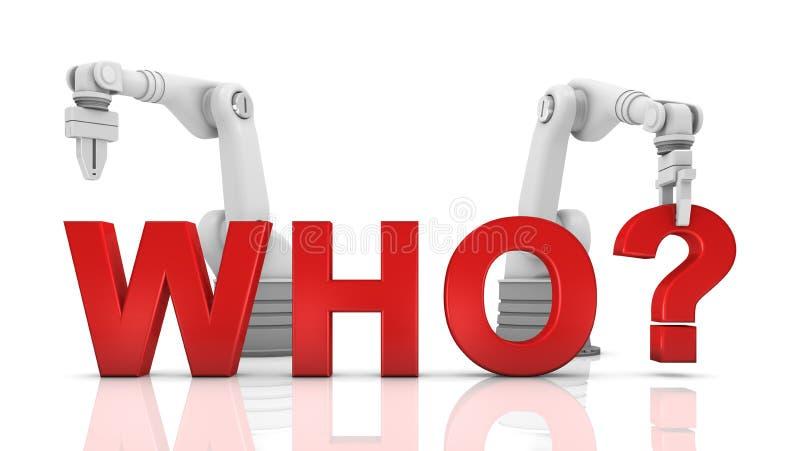 Braços robóticos industriais que constroem a palavra do WHO