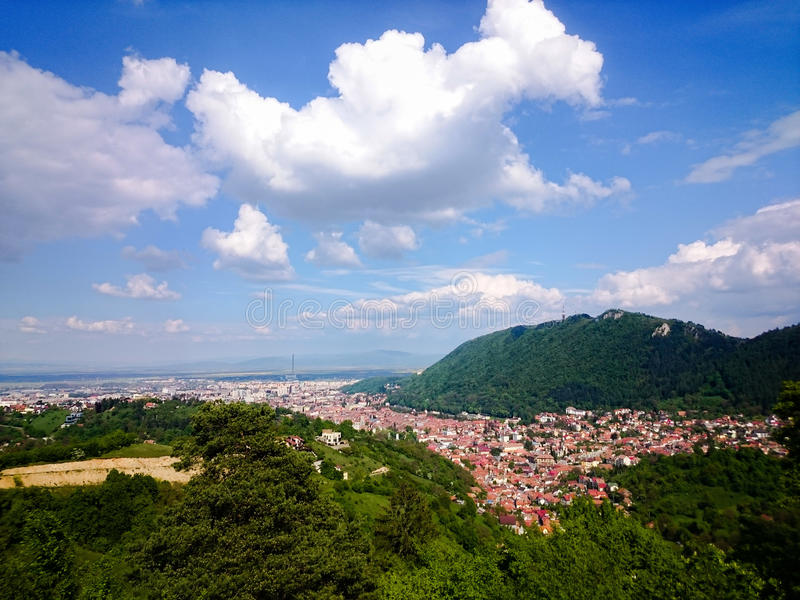 BraÈ™ov top view. BraÈ™ov panorama, view from top. Romania stock photography