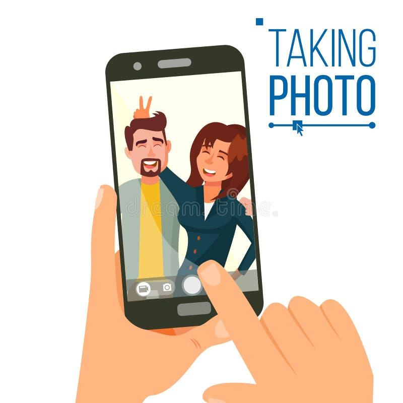 Brać fotografię Na Smartphone wektorze Uśmiechnięci przyjaciele bierze selfie Ludzie Pozować bank tła ręka trzymająca zauważy sma royalty ilustracja