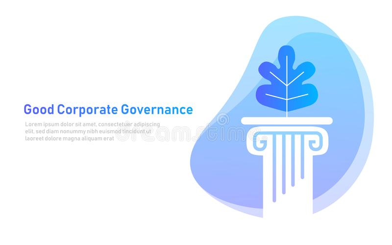 Bra bolagsstyrning sprick ut på pelarsymbolet som är principiellt i ett företag vektor illustrationer