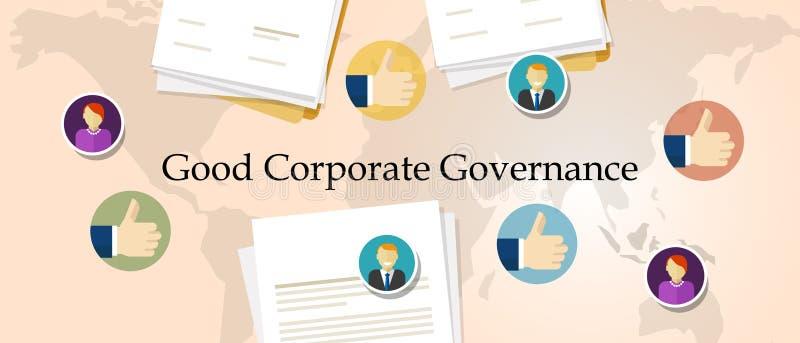Bra bolagsstyrningbegrepp genomskinligt ledningsymbol för ansvarig organisation med händer vektor illustrationer