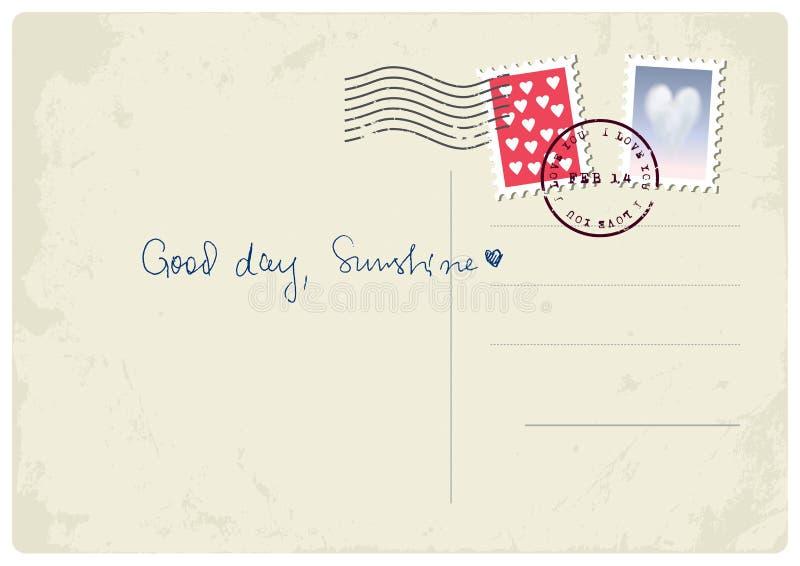 'Bra dag, solsken' vykort royaltyfri illustrationer