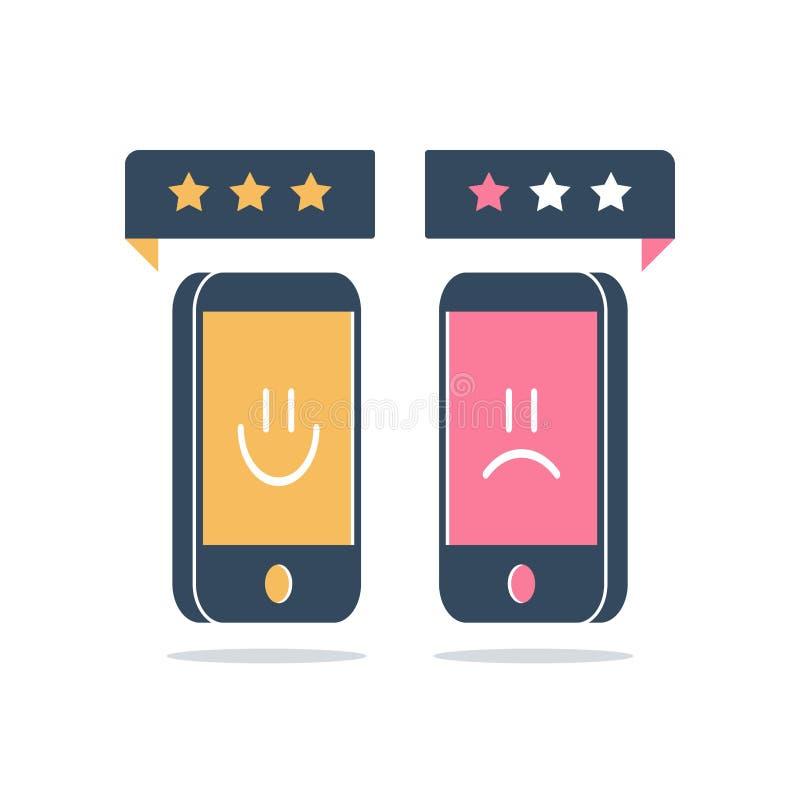 Bra eller dålig kundvärdering, online-granskning, tjänste- kvalitets- lycklig eller olycklig erfarenhet för utvärdering, åsiktgra royaltyfri illustrationer