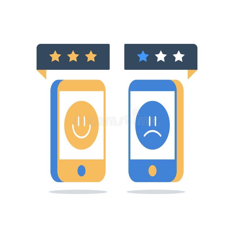 Bra eller dålig kundvärdering, online-granskning, tjänste- kvalitets- lycklig eller olycklig erfarenhet för utvärdering, åsiktgra stock illustrationer