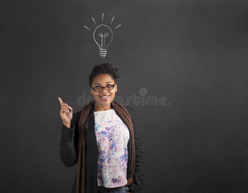 Bra idé för afrikansk amerikankvinna med lightbulben på svart tavlabakgrund arkivfoton