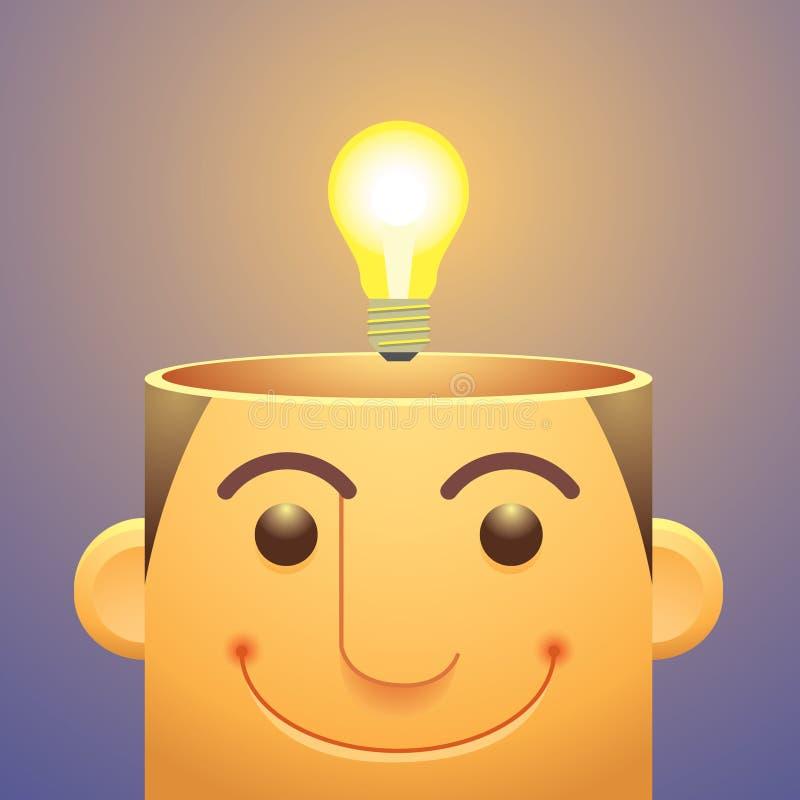 Bra idéer, över huvudet ljus kula royaltyfri illustrationer