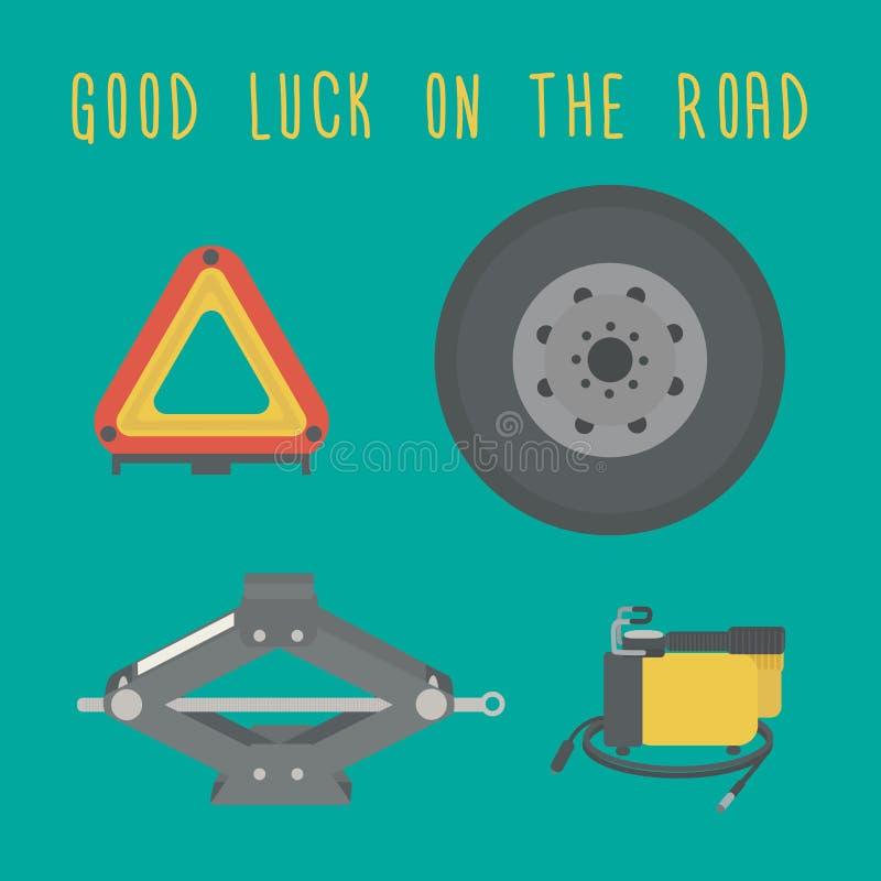 Bra lycka på vägen En stålar, extra- hjul, varningstriangel, billuftkompressor vektor illustrationer