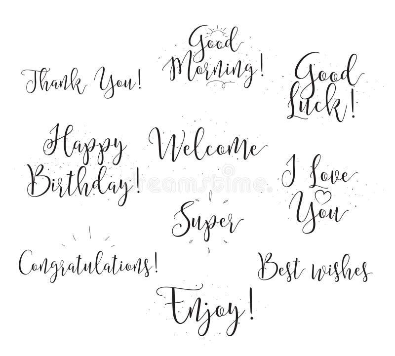 Bra lycka, tycker om, den lyckliga födelsedagen Uppsättning av modern kalligrafi och hand drog beståndsdelar Typografisk begrepp  vektor illustrationer