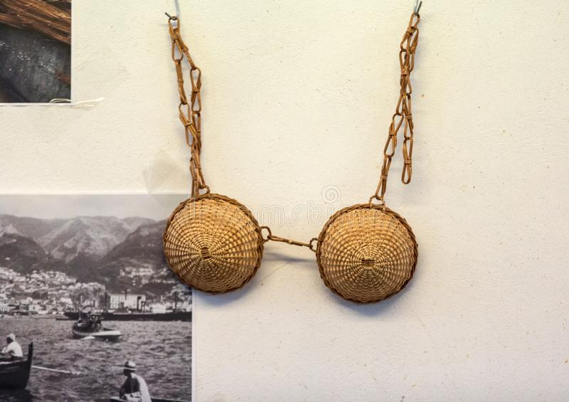 Bra made of wicker on sale in a factory shop in Camacha on Madeira Island. Portugal royalty free stock images
