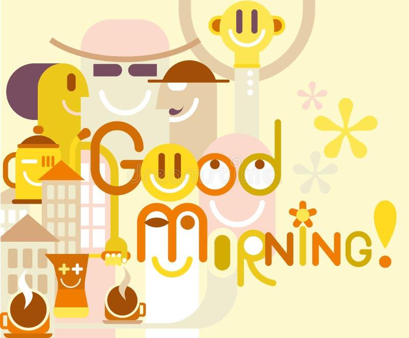 Bra morgon! vektor illustrationer