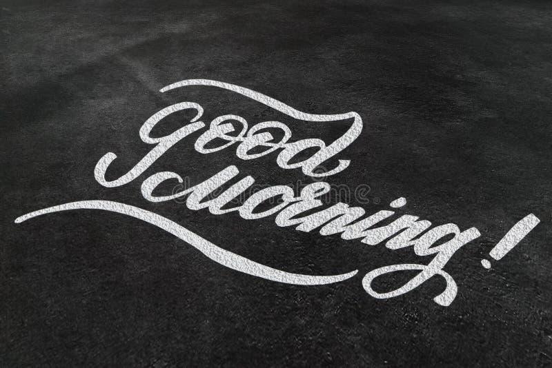 Bra morgon! Design för uttryck för borstebokstäverhand skriftlig med krita på svart tavla arkivfoto