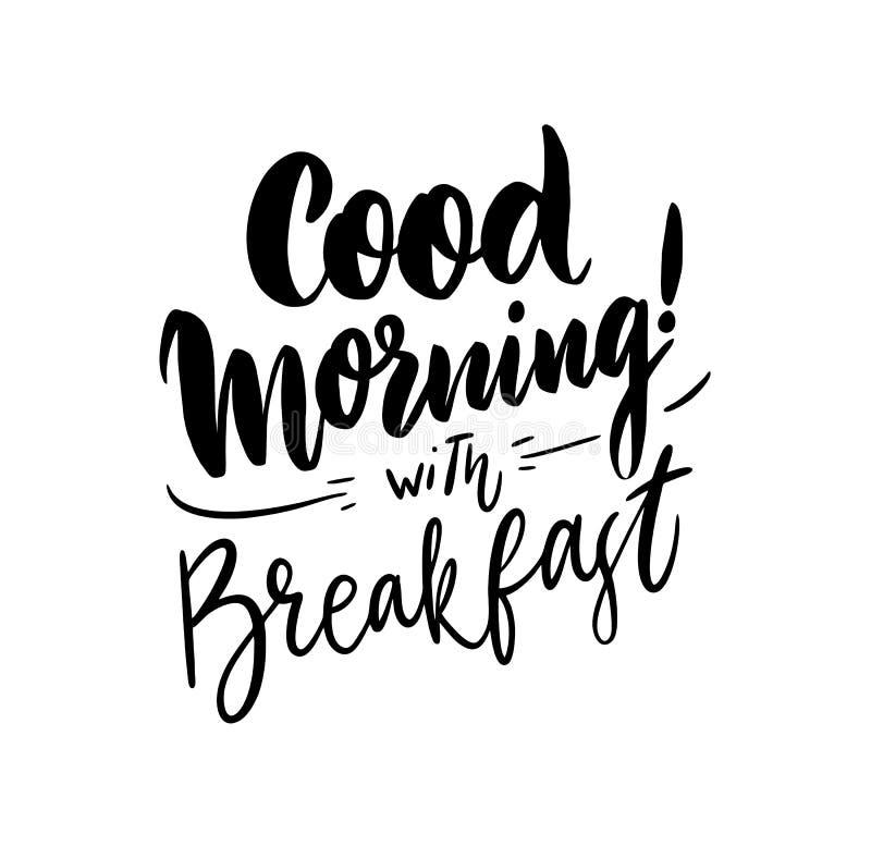 Bra morgon med bokstäver för vektor för frukosthand utdragen royaltyfri illustrationer