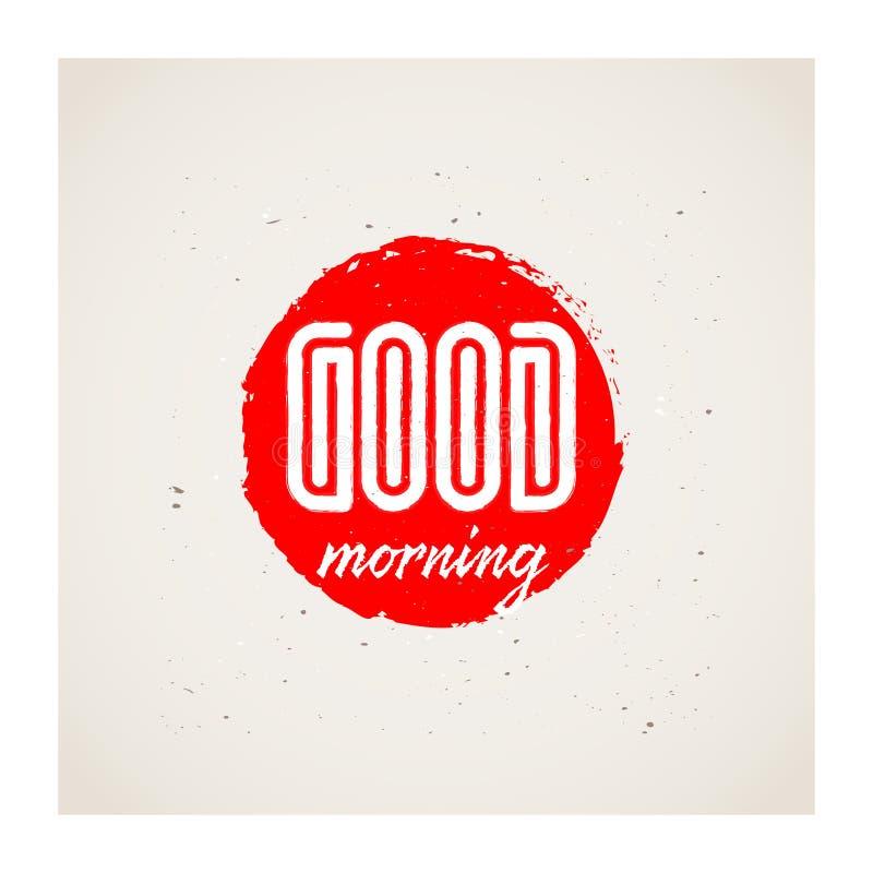 Bra morgon - vektorillustration för affisch eller trycket för torkduk royaltyfri illustrationer