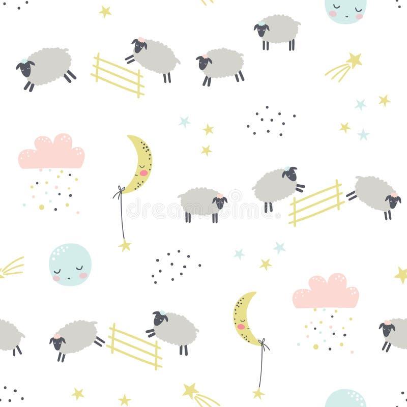 Bra natt Barnslig s?ml?s modell med sheeps royaltyfri illustrationer