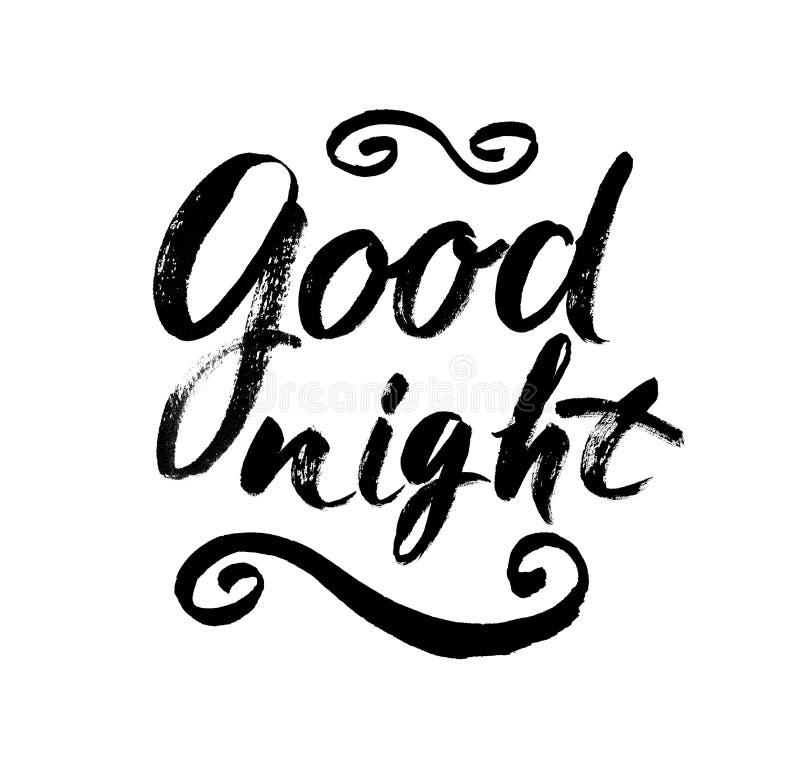 Bra natt Hand dragen typografiaffisch Bokstavsmarkerad calligraphic design för T-skjortahand Inspirerande vektortypografi vektor illustrationer