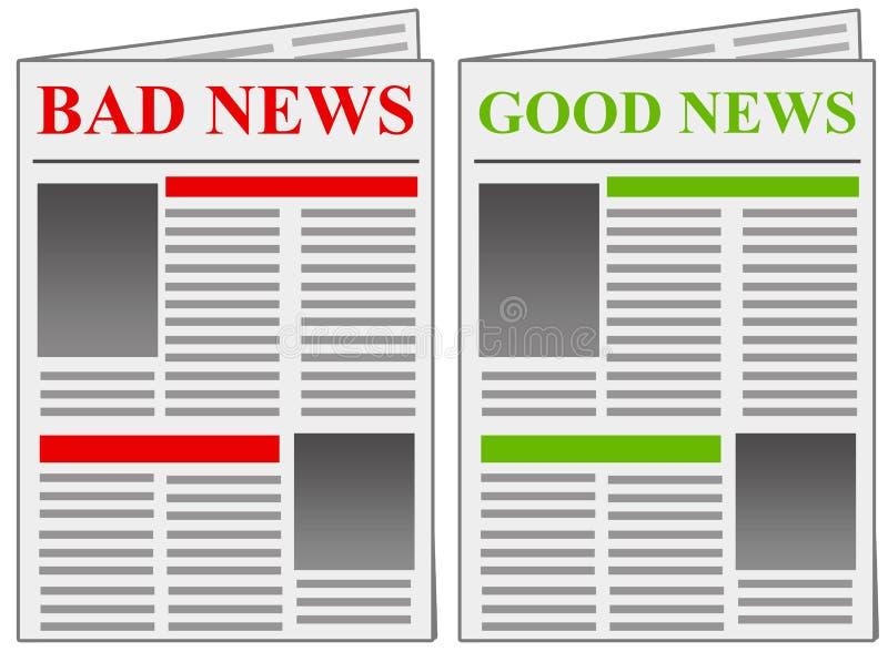 Bra nyheternadåliga nyheter vektor illustrationer