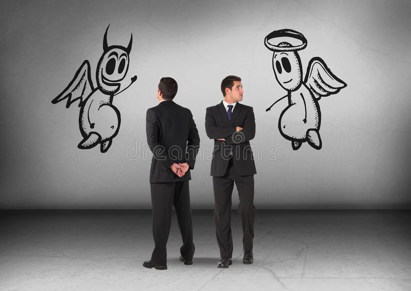 Bra och ondskadiagram med affärsmannen som ser i motsatta riktningar royaltyfri bild