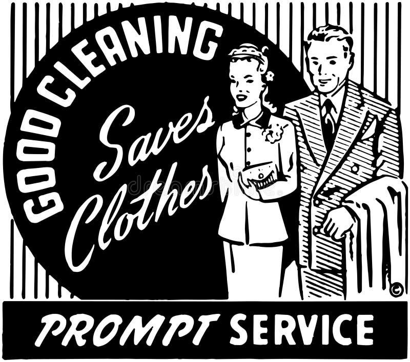 Bra rengöra sparar kläder 2 stock illustrationer