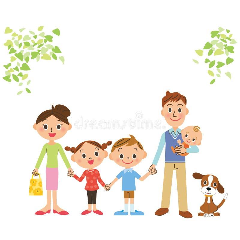 Bra vänfamilj som binder en hand vektor illustrationer