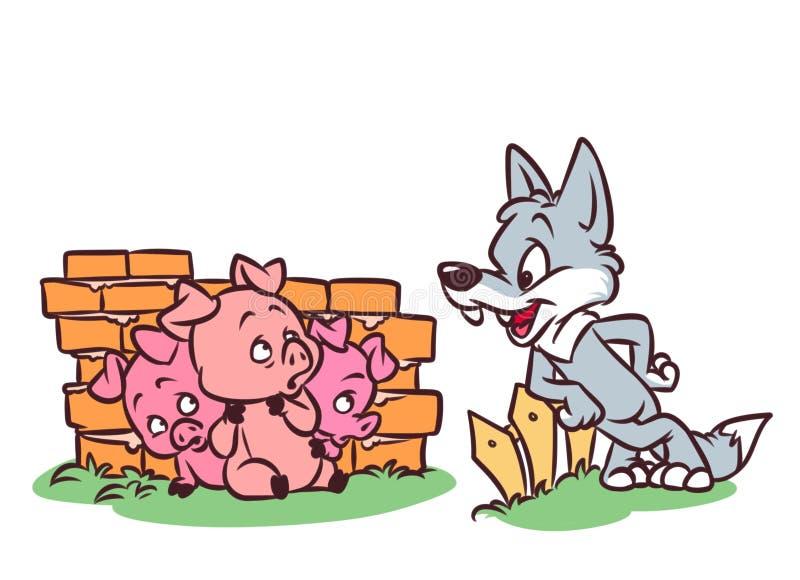 Bra Wolf Three Little Pigs Tale tecknad film stock illustrationer