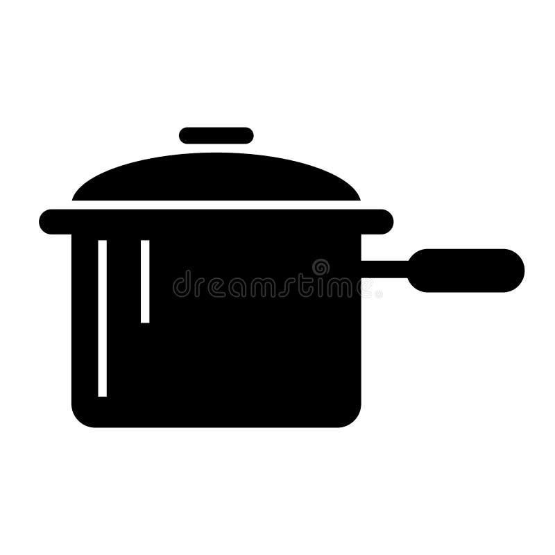 Braadpan met een handvat stevig pictogram Pan vectordieillustratie op wit wordt geïsoleerd Het ontwerp van de potten glyph stijl, vector illustratie