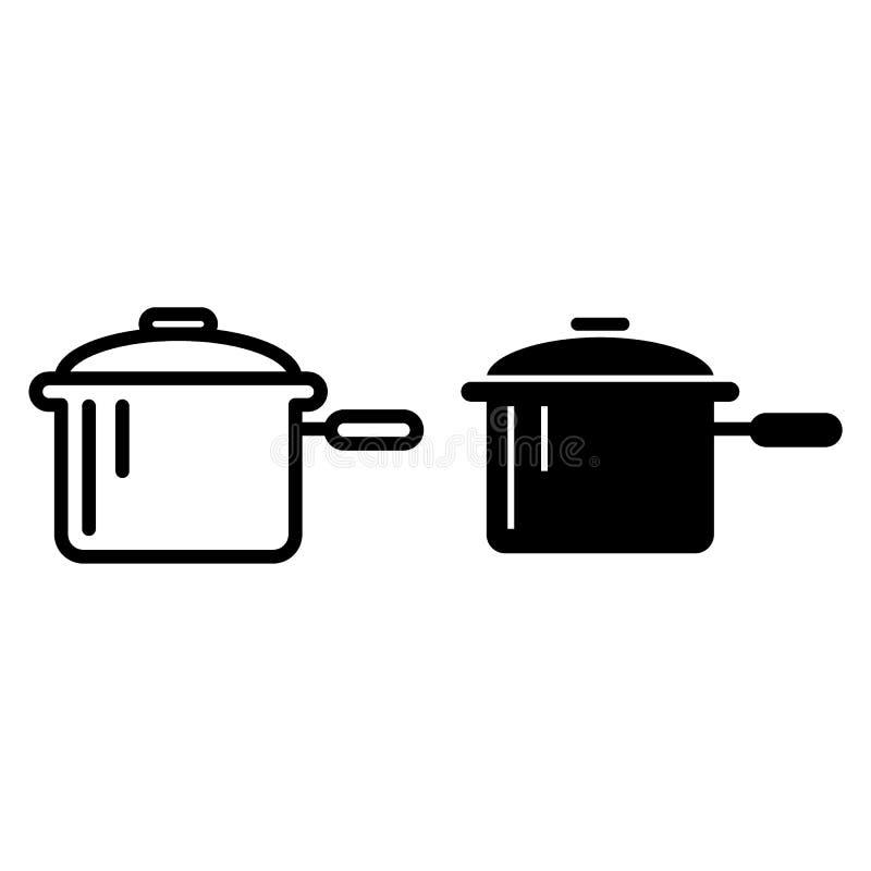 Braadpan met een een handvatlijn en glyph pictogram Pan vectordieillustratie op wit wordt geïsoleerd De stijlontwerp van het pott stock illustratie