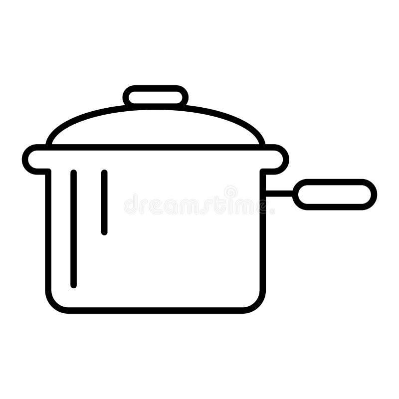 Braadpan met een pictogram van de handvat dun lijn Pan vectordieillustratie op wit wordt geïsoleerd Het de stijlontwerp van het p stock illustratie