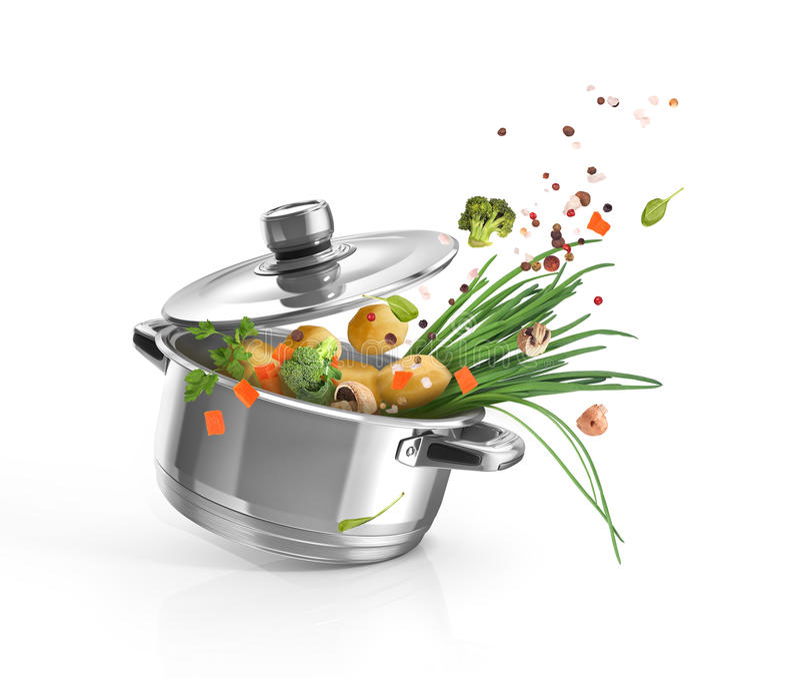 Braadpan met groenten stock illustratie