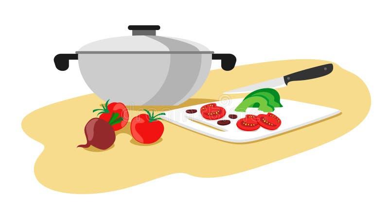 Braadpan met groenten voor het koken De groenten van messenbesnoeiingen Vector illustratie op witte achtergrond royalty-vrije illustratie