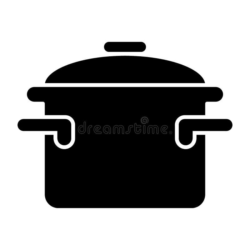 Braadpan met handvatten stevig pictogram Kokend pan vectordieillustratie op wit wordt geïsoleerd Het ontwerp van de potten glyph  vector illustratie