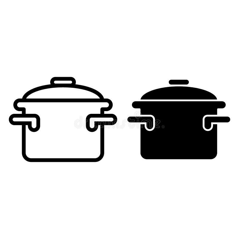 Braadpan met handvattenlijn en glyph pictogram Kokend pan vectordieillustratie op wit wordt geïsoleerd De stijlontwerp van het po vector illustratie