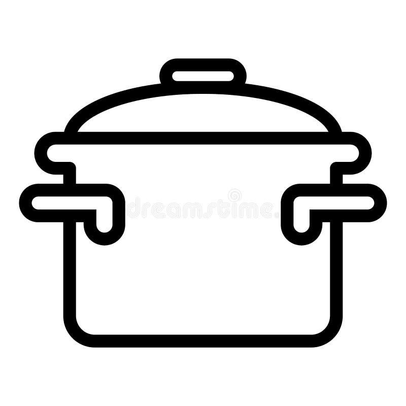 Braadpan met het pictogram van de handvattenlijn Kokend pan vectordieillustratie op wit wordt geïsoleerd Het de stijlontwerp van  royalty-vrije illustratie